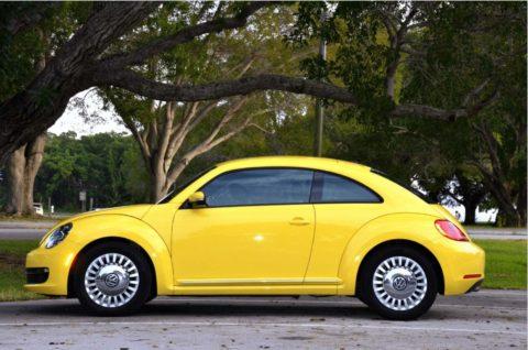 Volkswagon bug yellow outside