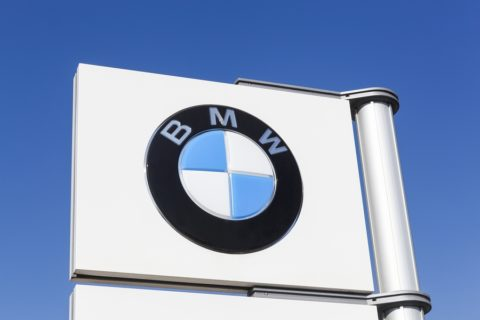 BMW Logo on sign with blue sky backgroud