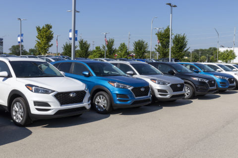 Row-of-White-Blue-Silver-and-Black-Hyundai-Cars-at-Car-Dealership