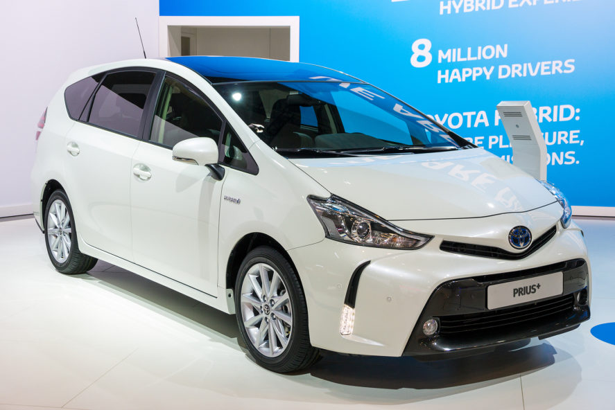 White-Toyota-Prius-at-Motor-Show